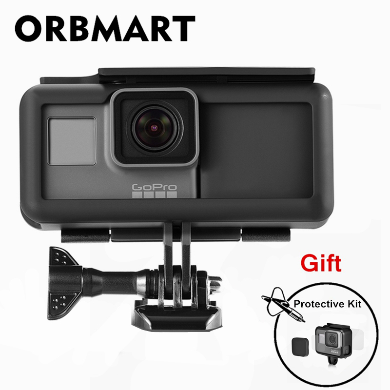 ORBMART Protective Housing Case Frame + 2300 mAh Battery Power Bank + Glass Screen Protector Kit For Gopro Hero 5 6 7 Camera orbmart 6 pcs every 2 pieces lens cap cover case glass lens and screen protector film for gopro hero 5 6 7 black camera