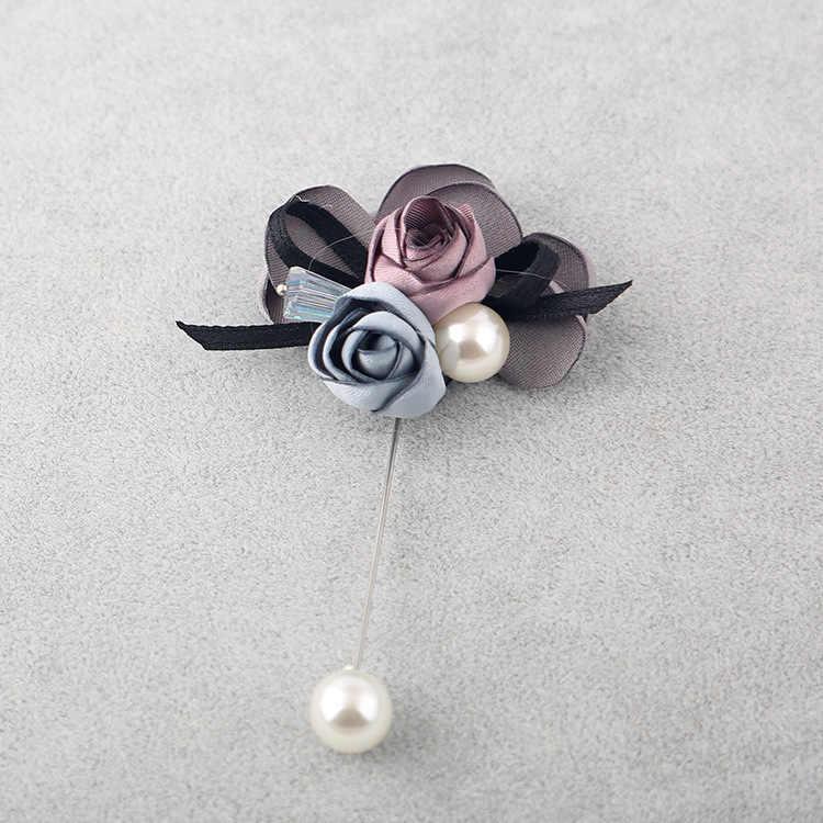I-Remiel di Arte del Panno Del Fiore Del Tessuto Spilla per la Donna di Modo Coreano Maglione Cardigan Grande Risvolto Spille di Perle Imitazione di Fiori spille