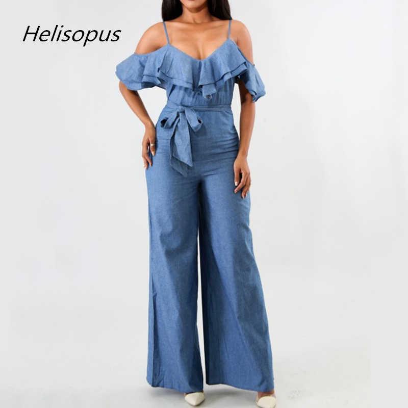 c86d46bde84b Helisopus 2019 Blue Denim Jumpsuit Women Sexy Harness Low-cut Ruffled Cold  Shoulder Wide-