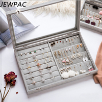 JEWPAC Jewelry Display Gray/Pink Carrying Case With Glass Cover Jewelry Ring Display Box Tray Holder Storage Box Organizer Z11
