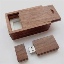 30pcs/lot 4GB Free Custom Natura lWalnut Wood USB Flash Drive 2.0 Memory Stick