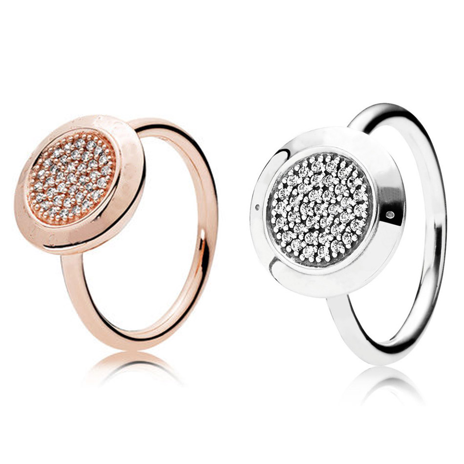 Authentic 925 Sterling Silver Ring for Women Pave Silver Rose Gold Color For Women Wedding Gift Fine fit Lady Jewelry