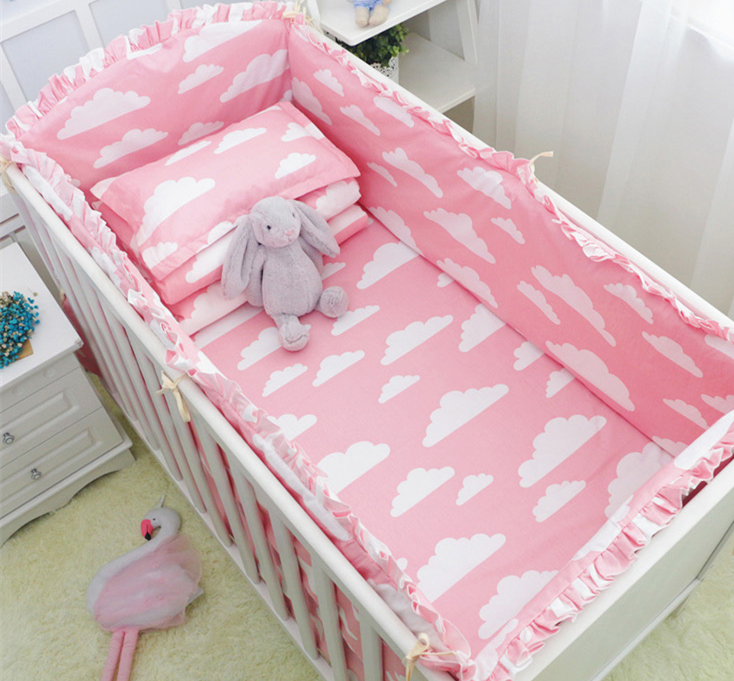 Promotion! 9PCS Full Set Pink Cloud Baby Bedding Set Cot Crib Bedding Set For Girls Boys Crib Bumper,4bumper/sheet/pillow/duvetPromotion! 9PCS Full Set Pink Cloud Baby Bedding Set Cot Crib Bedding Set For Girls Boys Crib Bumper,4bumper/sheet/pillow/duvet