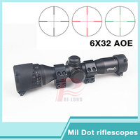 Tactical Hunting WALTHER 6X32 AOE Mil Dot Multi Coating Anti Shock Red Green Illuminated Rifle Scope