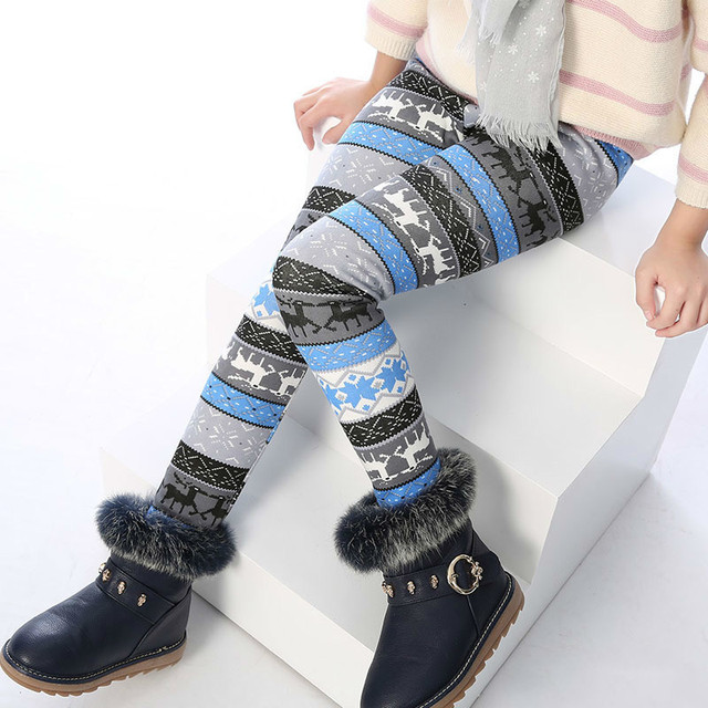 Girls Warm Trousers Children Autumn Winter Leggings Baby Girl Printing Flower Pants With Fleece Thick Underpants For Kids 3-8T