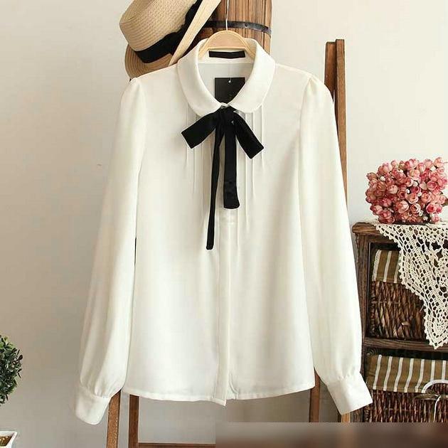 Moda femenina elegante pajarita blanca blusas de Gasa collar de peter pan camisa