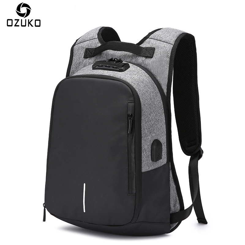OZUKO New Design Password Lock Anti theft Backpack School Bag USB charging 14inch Laptop Backpack Men Waterproof Travel Mochila