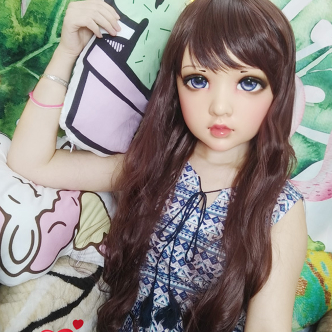 (Wo-01)Female Sweet Girl Resin Half Head Kigurumi BJD Eyes Crossdress Cosplay Japanese Anime Role Lolita Mask With Eyes And Wig
