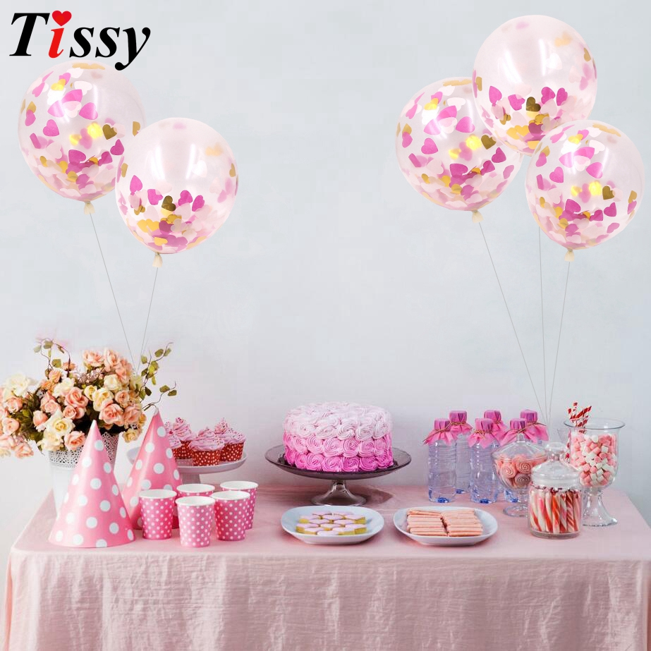 10PCS 12inch Romantic Inflatable Confetti Clear Latex Balloon For ...