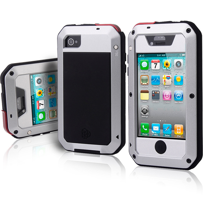 Luxury Aluminum Metal Armor Case For IPhone 4S 4 Full Cover Screen Protector Case Shockproof Phone