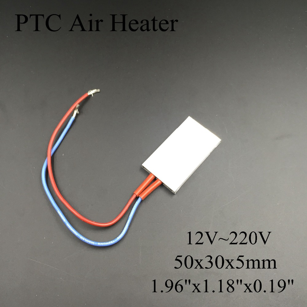 (5 pieces/lot) 12V/110V/220V 50x30x5mm PTC Thermostat Aluminum Heating Element Ceramic Air Heater Plate Chips Incubator