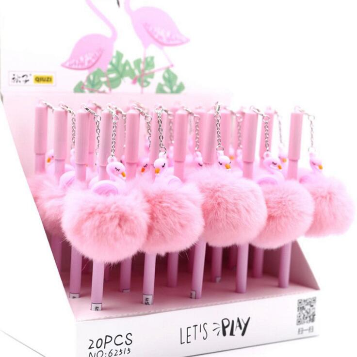 0.5 Mm Flamingo Warm Ball Plush Pendant Gel Pen Ink Pen Promotional Gift Stationery School & Office Supply