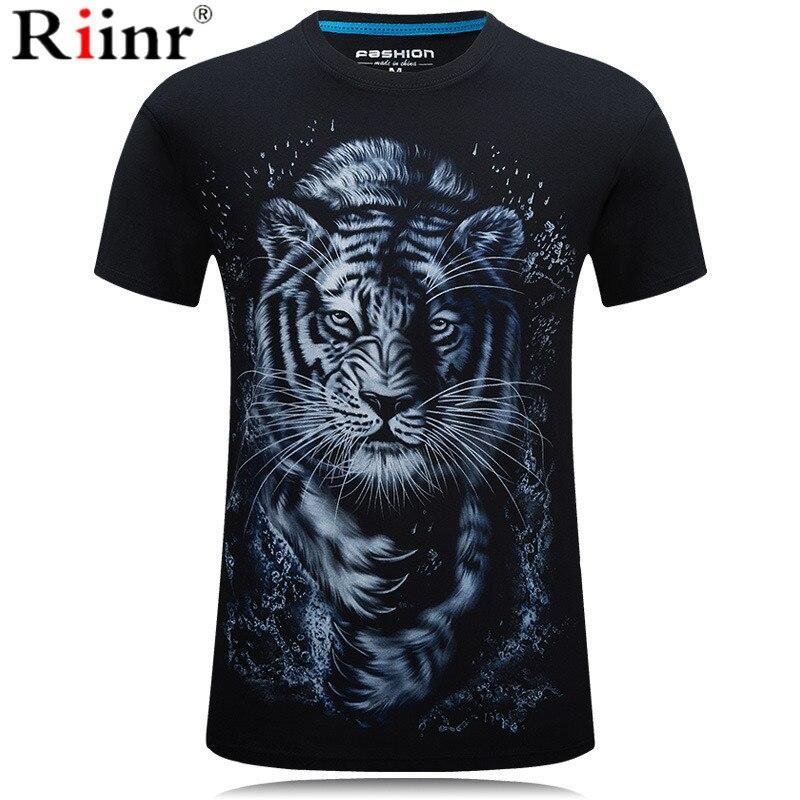 Riinr 2019 Tiger Print 3D Series T-Shirt Men's New Top T-Shirt Summer Short Sleeve Animal Pendant Streetwear Mens Coats Tshirts