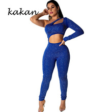 Kakan sexy womens nightclub jumpsuit hot drilling wrap chest back tight bodysuit fashion hollow yellow blue