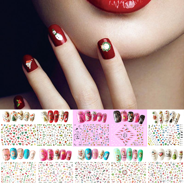 1pcs Cute Nail Tattoo Sticker Cartoon Nail Art Sticker For Christmas