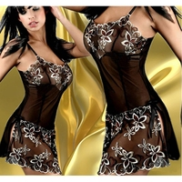 Fashion Porn Women Negligee Hot Sexy Lace Dress Flower Pattern Lingerie Sleepwear Sets Baby Doll Dress
