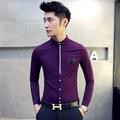 2017 Arco de La Manera Del Diseñador Púrpura Chino Mens Casual Camisas de La Boda Vestido de Slim Fit Camisa de Los Hombres de Manga Larga Camisas de Los Hombres Hemden