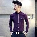 2017 Fashion Bow Designer Purple Chinese Mens Casual Shirts Wedding Dress Slim Fit Shirt Men Long Sleeve Men's Shirts Hemden