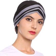 Babalet Women's Elegant Soft Color Block Muslim Islamic Turban Cap Headscarf Chemo Cancer Hair Loss Beanie Indian Cap Nightcap