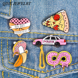 QIHE JEWELRY Food pins Pizza Infinity Donut Car Banana Heart butt Enamel pins Sweet Pink Kawaii Lapel pins Badges Women Girl(China)