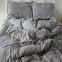 4pcs Washed Gray Natural linen bedding set King Size Duvet Cover Pillowcase Pure Linen Sheets Bed Sheet Set French Bedding Sets