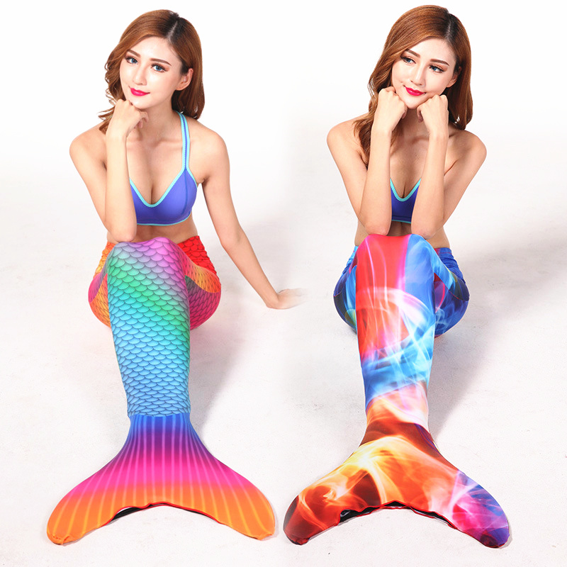 ФОТО Adult Swimmable Lycra Mermaid Tail One-Piece Suits 3d Full Scale Printing Mermaid Tail with Diving Fins Swimming One-Piece Suits