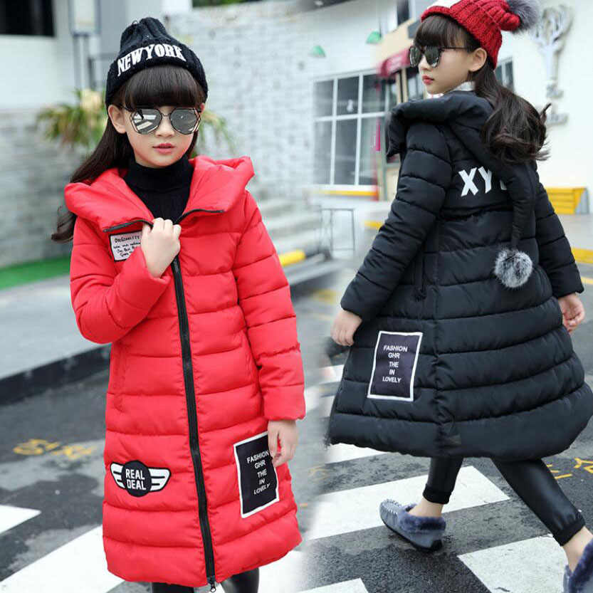 Girls winter clothes kids winter thickening cotton jacket girls long warmly coat girls tops baby outwear 3 to 11T knee high coat