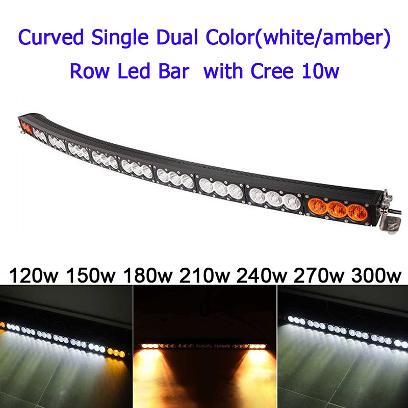 White Amber Yellow Curved Led Light Bar 120w 150w 180w 210w 240w 300w Off Road Spot Flood Combo Work Driving Offroad Fog