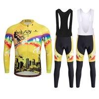Printemps À Manches Longues Hommes Vélo Kits Vélo Jersey et Vélo De Course Bib Pantalon/VTT Pantalon Réfléchissant Jaune