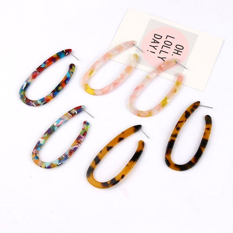 Leopard Acrylic Resin Mottled Statement U Shape Earrings Women Fashion Jewelry in Drop Earrings from Jewelry Accessories