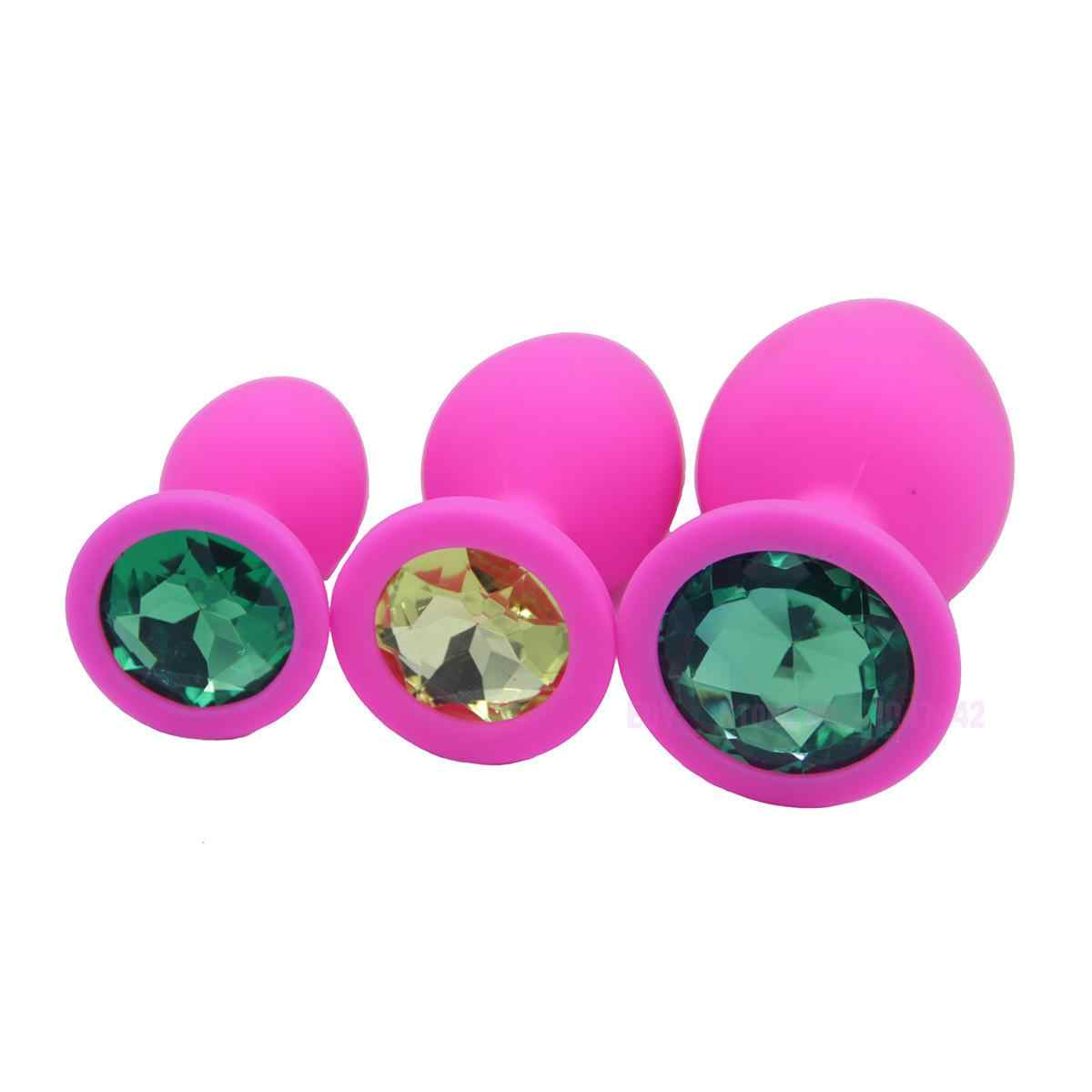 9a5d2f829 ... 3 Size Silicone Anal Beads Butt Plug With Stone Adult Gay Products Anal  Plug Balls Erotic ...