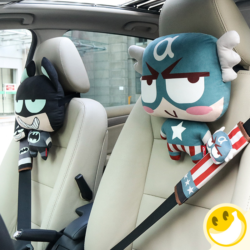 2Pcs Set Cartoon DC Marvel Car Seat Neck Rest Headrest Auto Waist Support Lumbar Cushion Head Pillow In From Automobiles