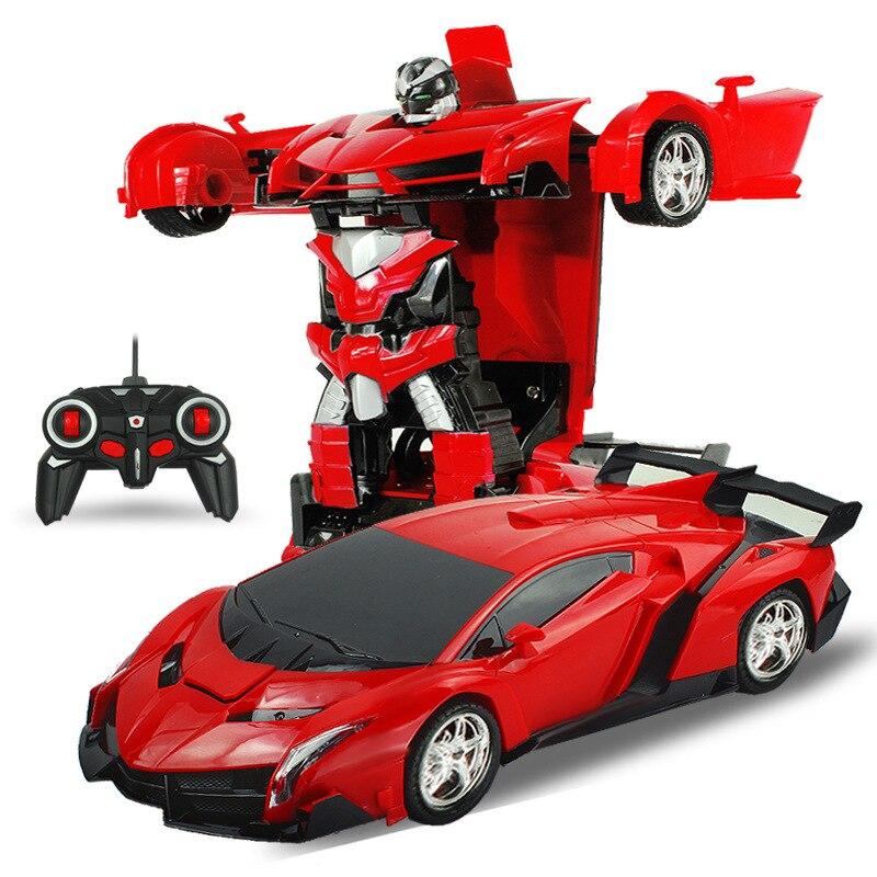 2in1 rc car sports car transformation robots models remote control deformation car rc robots kids toys