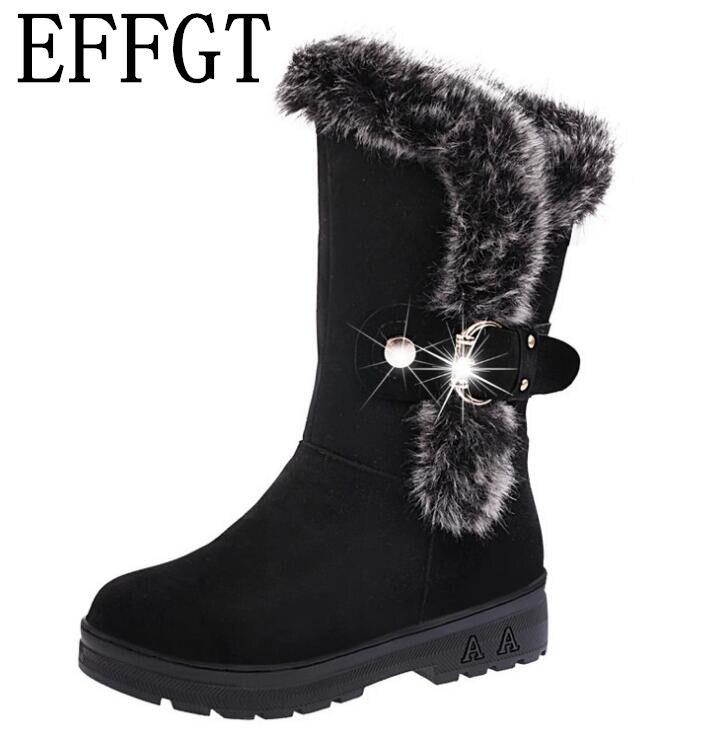Zapatos Negro Botas Effgt Hasta Piel Moda La rojo on Redonda 2019 Warm Nieve Soft marrón De Mujer Planas Rodilla Slip Invierno Punta Metal Z203 1wwn5vqC