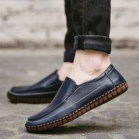 Big Size 47 Men Loafers Genuine Leather Casual Boat Shoes Slip On Soft Breathable Moccasins Men