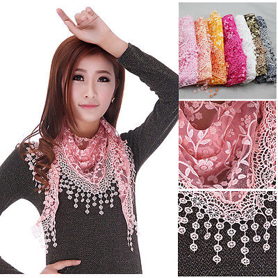 Ladies Lace& Embroidery Sheer Metallic Triangle Scarf Shawl Tassel Wrap 10 Color