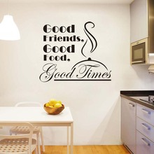 Stickers Good Friends Food Times Vinyl Wall Art Decal Kitchen Home Decor Poster English Quote House Decoration