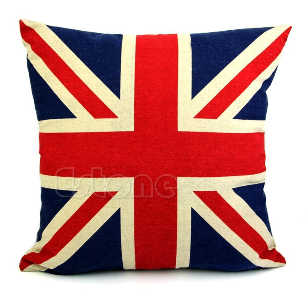 Union Jack Decorative Pillows 45*45 Linen Cotton Home Decor For Sofa Throw Pillows US Flag ...