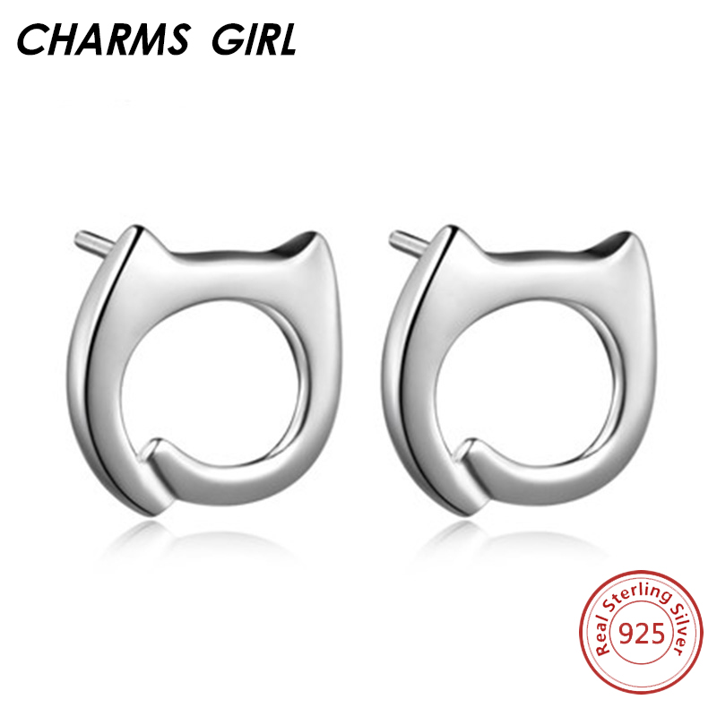 CHARMSGIRL Store CHARMS GIRL Office Styles 100% Real 925 Sterling Silver Earrings For Women Fine Wedding Jewelry Stud Earrings Valentine's Day