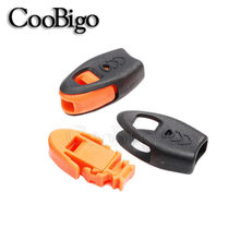 2pcs Zipper Pull Cord Ends Lock Paracord Knife Lanyard Emergency Whistle ORANGE Survival Outdoor Camping Travel Kits #FLS070(China)