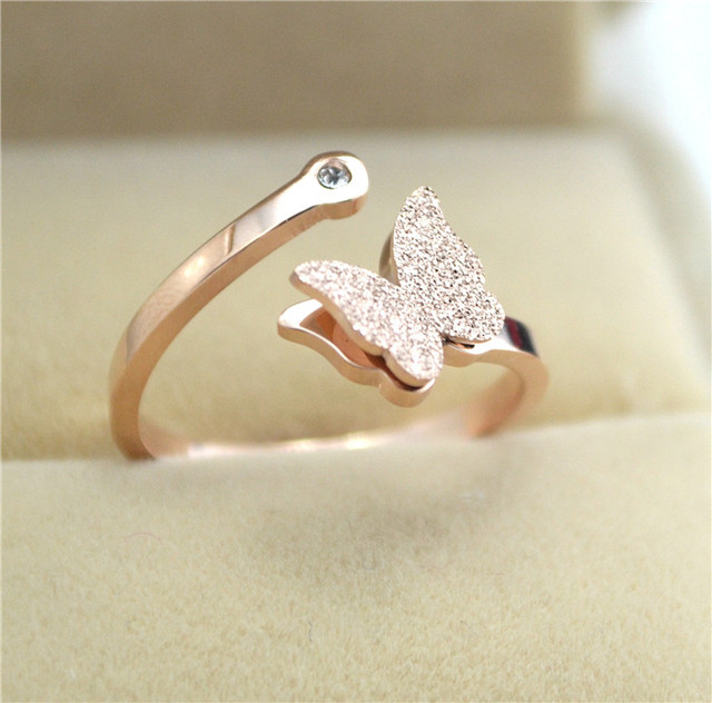 Pink gold color frosted butterfly rings for women joias, stainless steel opening ring jewelry anillo mujer bijoux anel feminino