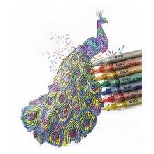 12 Colors Glitter Marker Pens Set Waterproof Poster Graffiti Journal Writing Fluorescent Stationery Supplies
