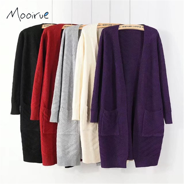 Womens Oversized Knitting Cardigan Loose Long Bat Sleeve Knitted ...