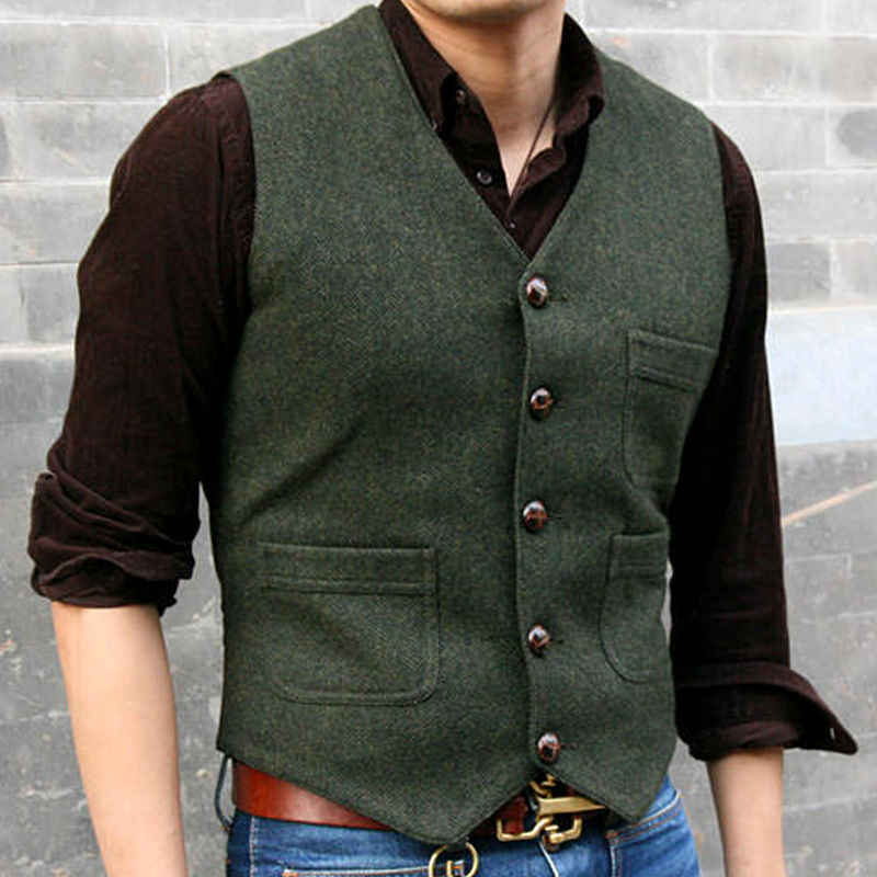 2018 2017 Mens 80% Wool Formal Waistcoat Vest Gentleman Winter Warm Classic Suit Vest Plus Size For Men
