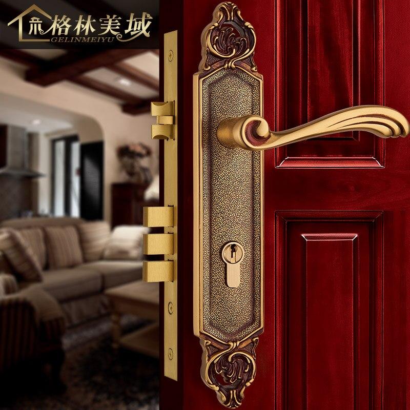 European-style copper door locks American full copper villa door lock interior bedroom door lock