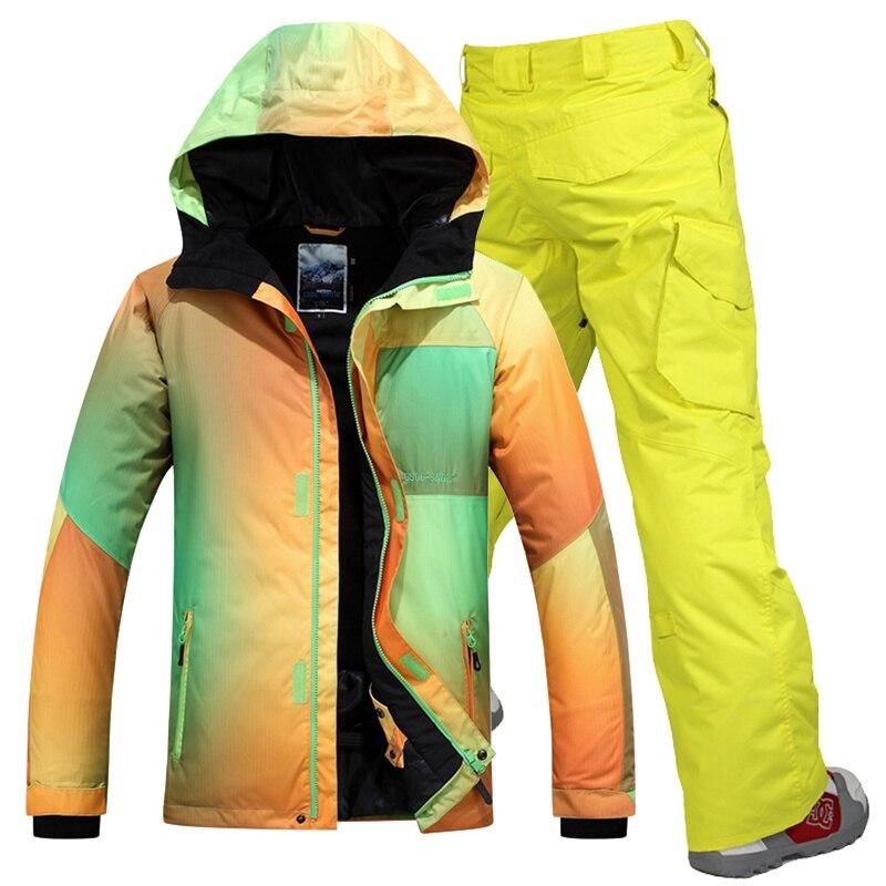 2017 Winter Ski Jacket+pants Men Gsou Snow Skiing Suit Sets Men Snowboard Clothes Outdoor Snow Sport Clothing Waterproof Coats