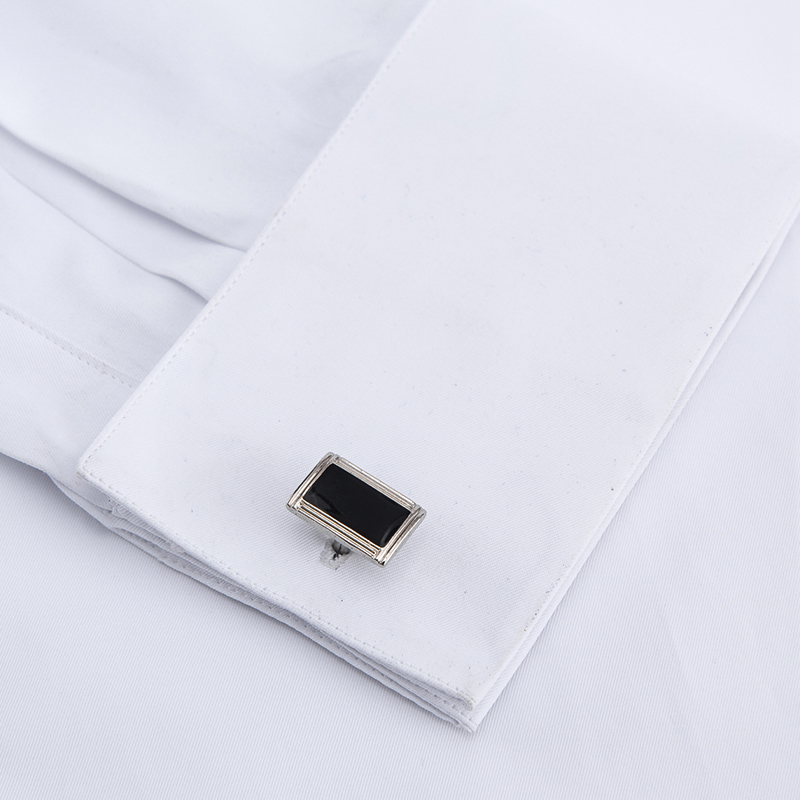 Men's Classic French Cuffs Solid Dress Shirt Covered Placket Formal Business Standard-fit Long Sleeve Shirts (Cufflink Included) 3