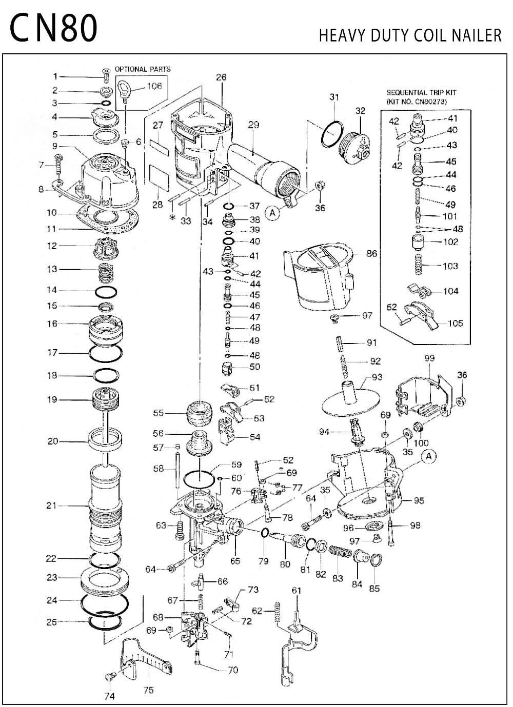 CN80 nase nuzzle teil nuzzle einheit für Nail Gun CN80 zubehör für ...