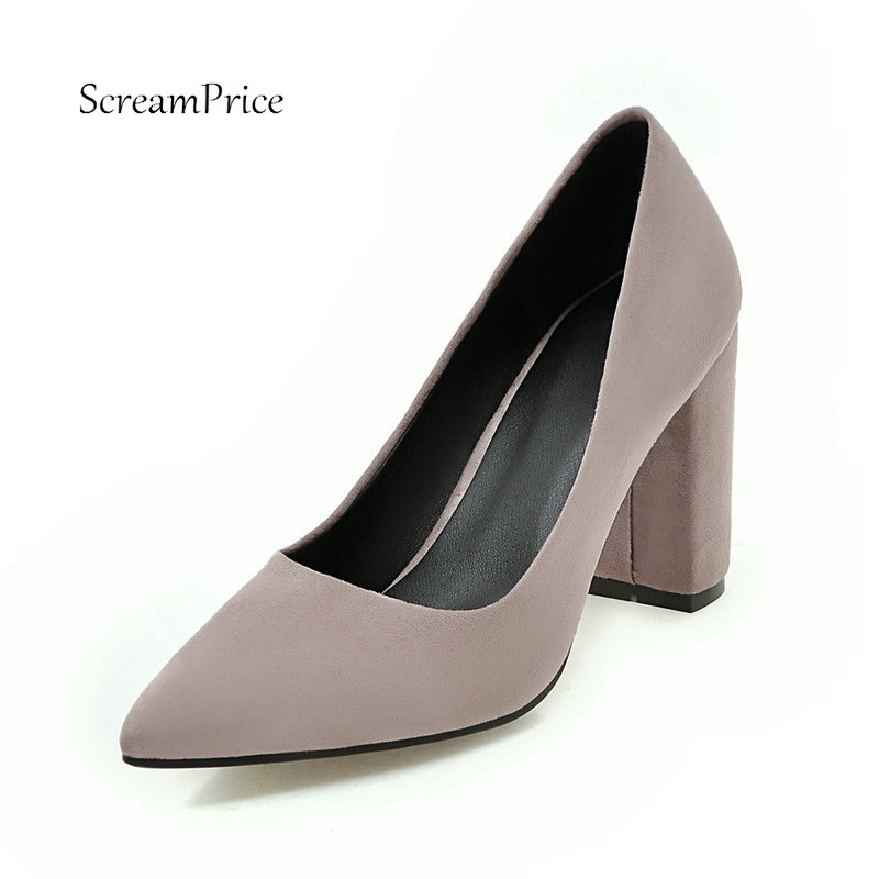Faux Suede Slip on High Heel Dress Pumps Fashion Pointed Toe Comfortable Square Heel Women Shoes Plus Size 34-43 купить