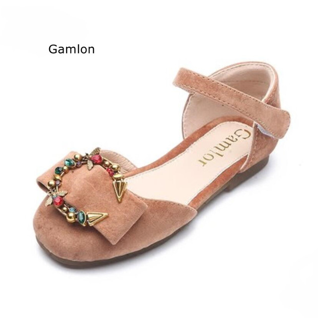 5a5a017546c0cb Gamlon Girls Sandals 2018 New Korean Summer Fashion Large Children Shoes  Child Bow Rhinestone Girls Princess Shoes Soft Bottom